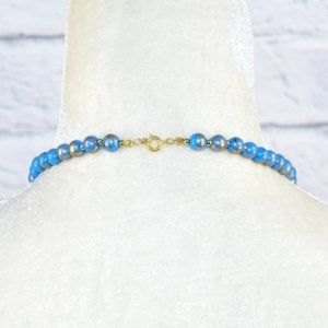 Jewelry - NEW Blue and Gold Tapered Bead Necklace Set